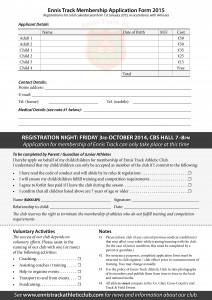 Ennis Track Membership Form
