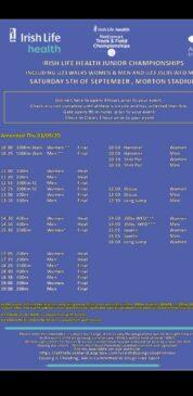U20 National Championship Timetable Day 1